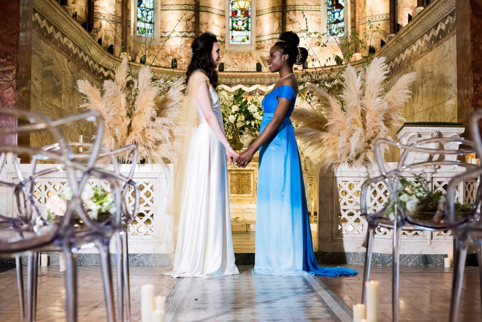 same sex brides at altar Fitzrovia Chapel wedding photoshoot but Always Andri Wedding Design