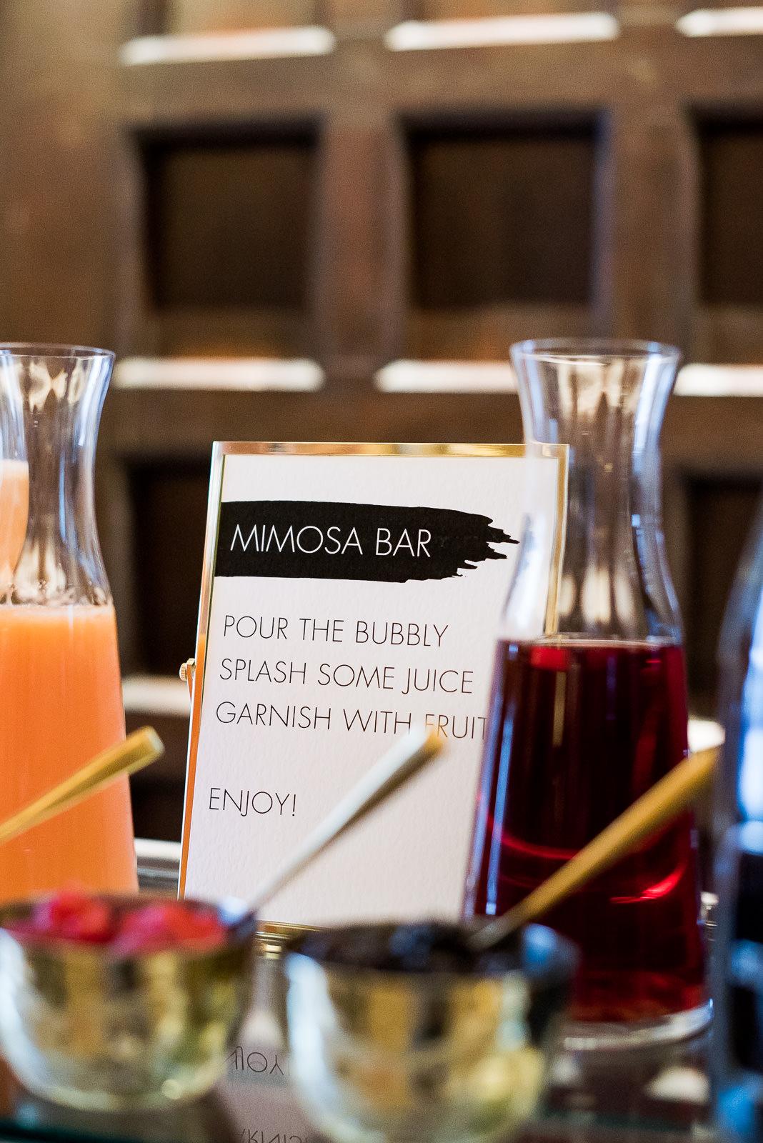 mimosa bar trolley Fitzrovia Chapel wedding photoshoot but Always Andri Wedding Design