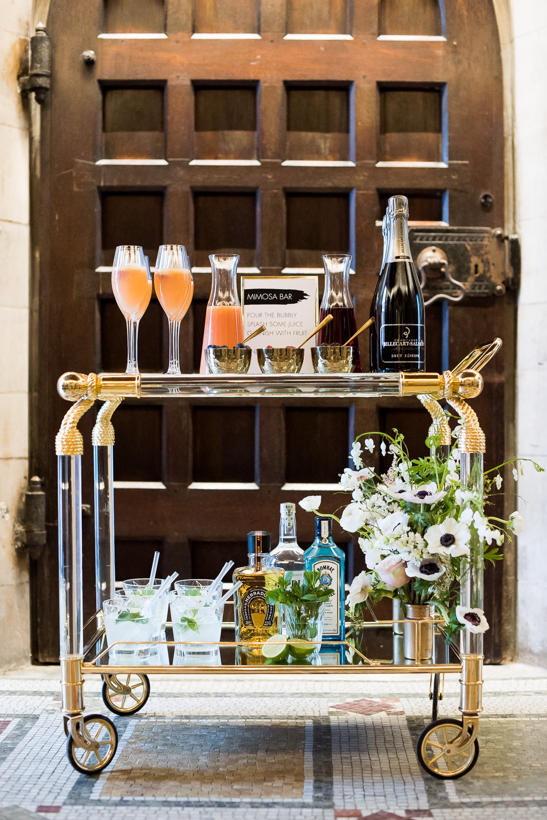 mimosa bar trolley wedding bar idea Fitzrovia Chapel wedding photoshoot but Always Andri Wedding Design