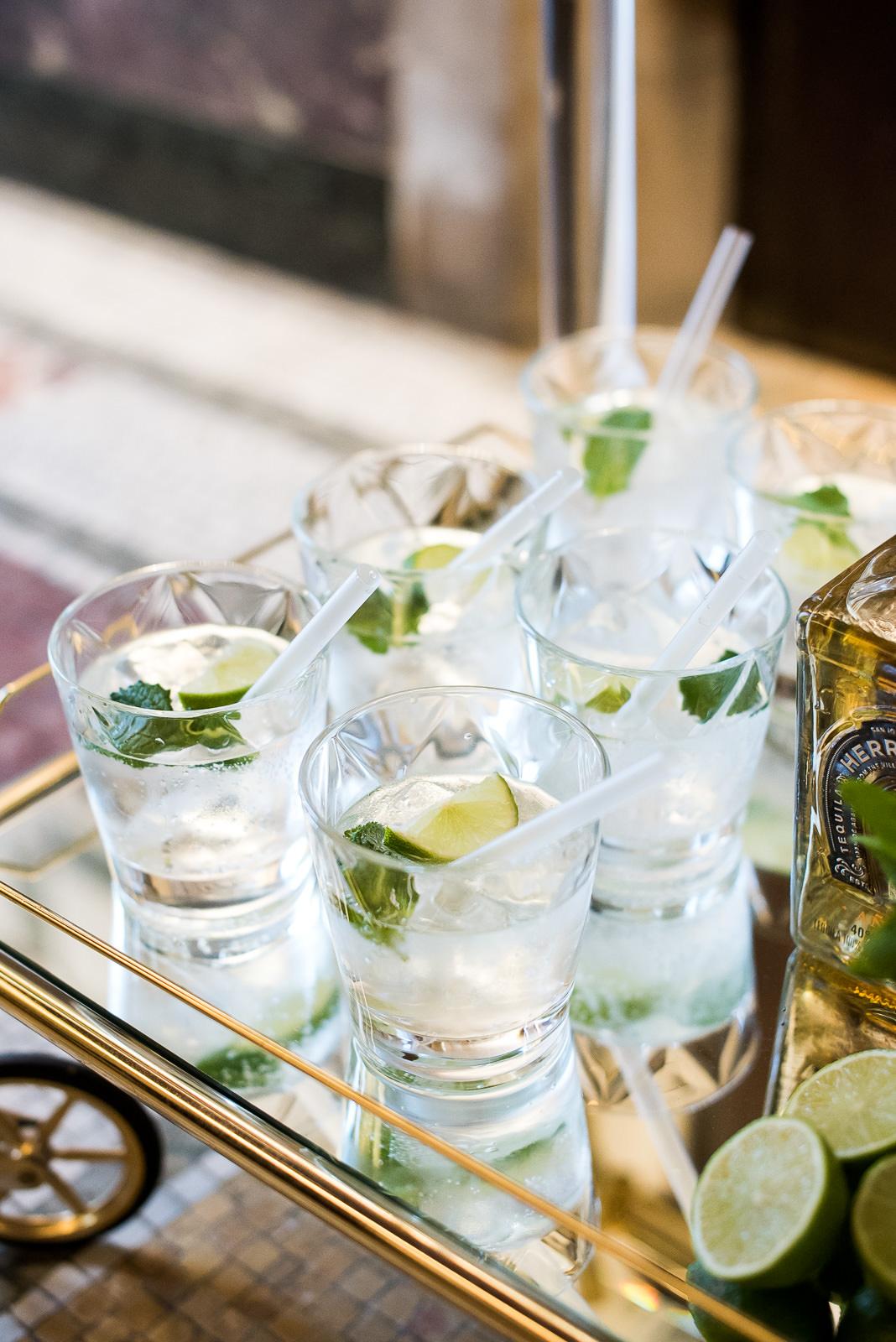 wedding day gin cocktails Fitzrovia Chapel wedding photoshoot but Always Andri Wedding Design