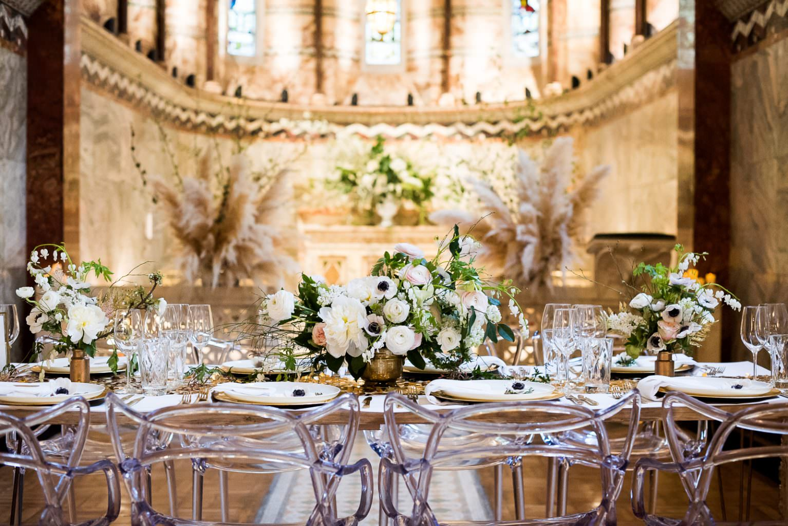 gold tablescape perspex masters chairs