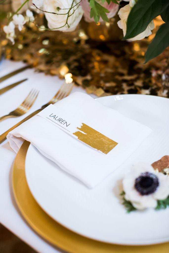 modern gold foil place card Fitzrovia Chapel wedding photoshoot but Always Andri Wedding Design