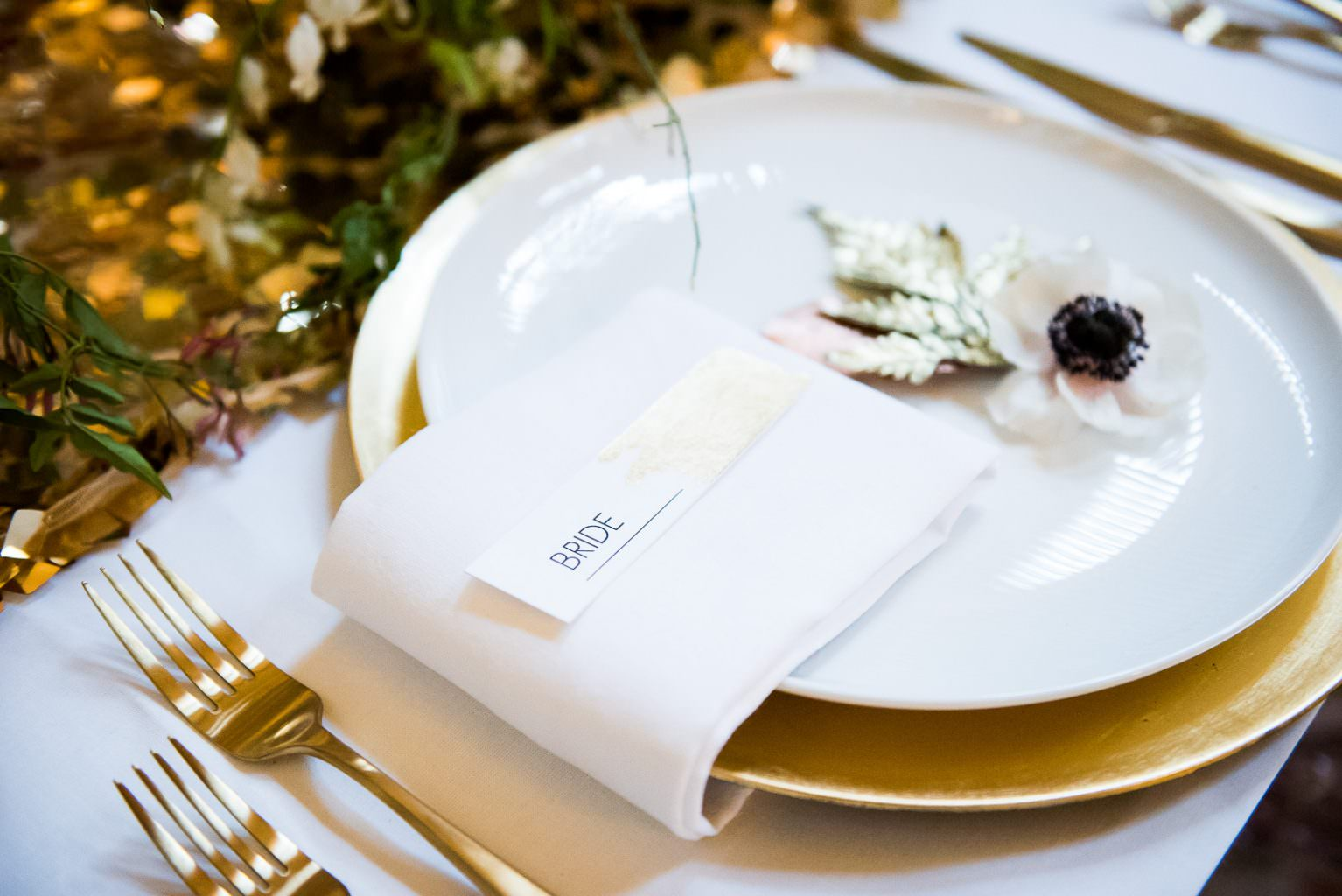 modern gold foil place card wedding Fitzrovia Chapel wedding photoshoot but Always Andri Wedding Design