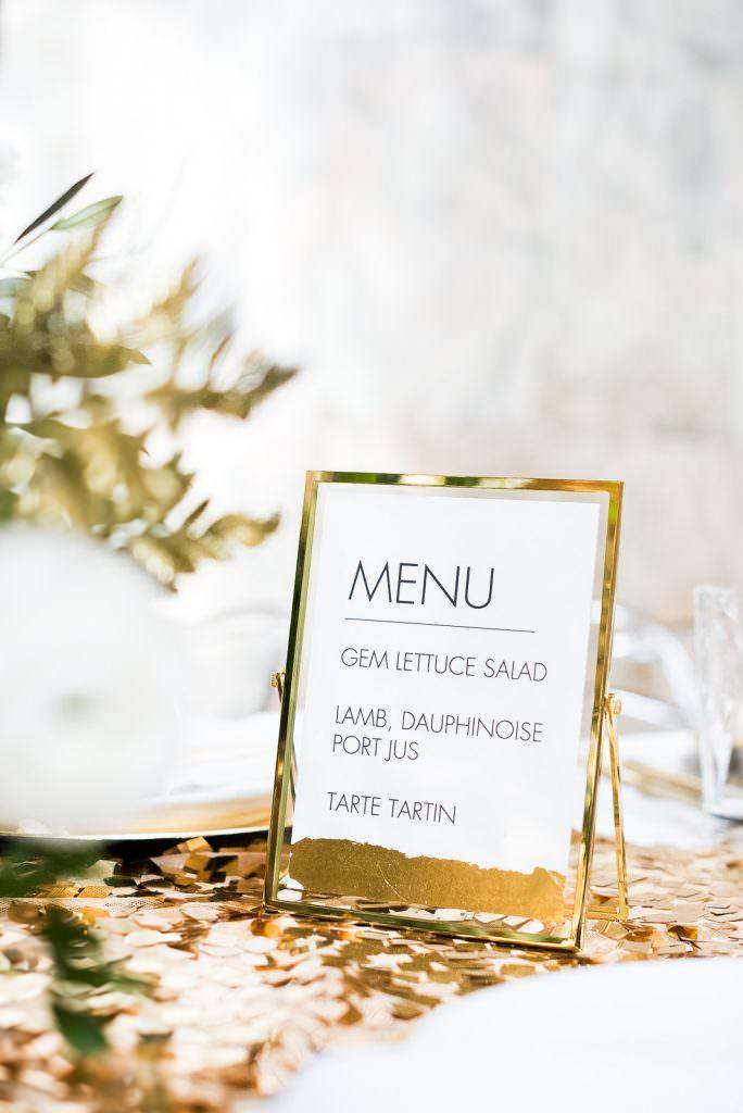 gold framed modern typography menu Fitzrovia Chapel wedding photoshoot but Always Andri Wedding Design