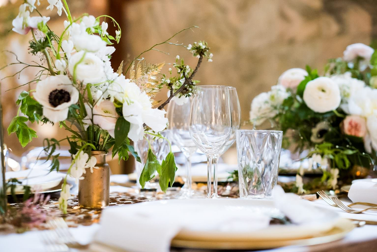 tablecape with gold and cut glasses Fitzrovia Chapel wedding photoshoot but Always Andri Wedding Design