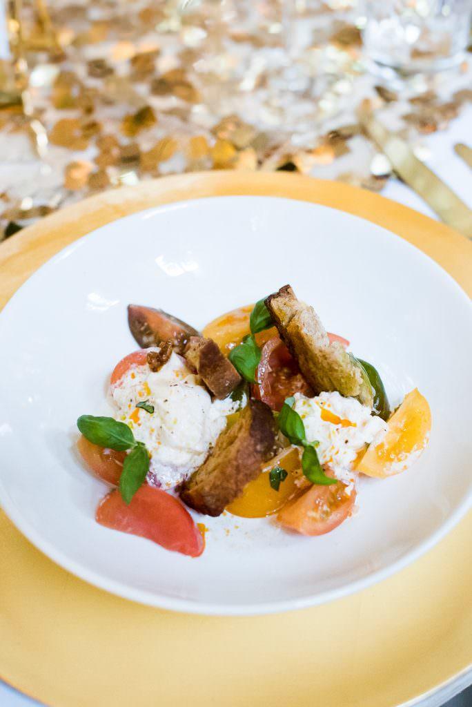 wedding food salad starter Fitzrovia Chapel wedding photoshoot but Always Andri Wedding Design