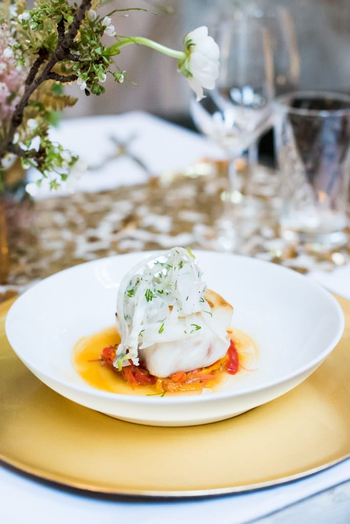 wedding food fish main course Fitzrovia Chapel wedding photoshoot but Always Andri Wedding Design