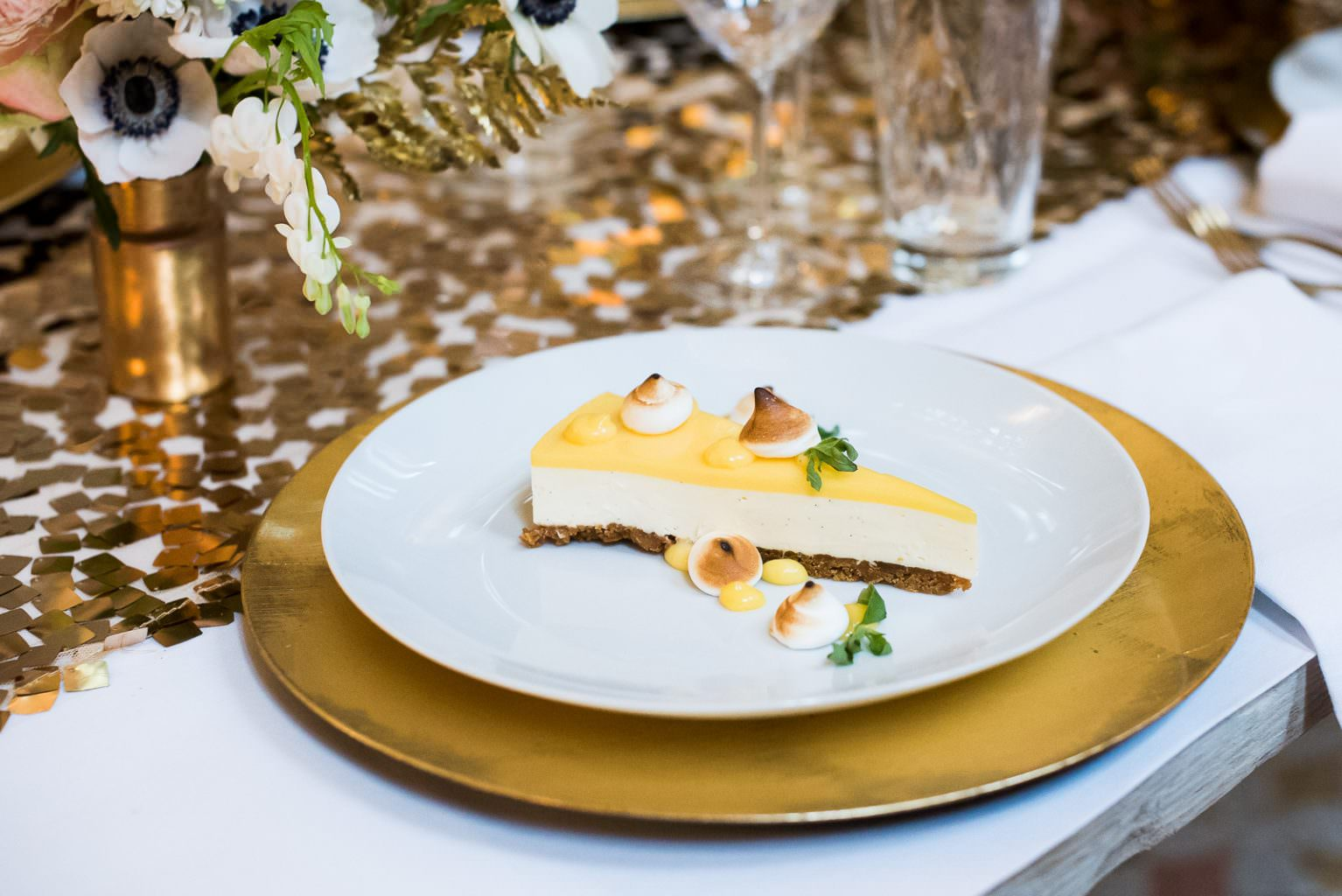wedding food lemon cheescake Fitzrovia Chapel wedding photoshoot but Always Andri Wedding Design