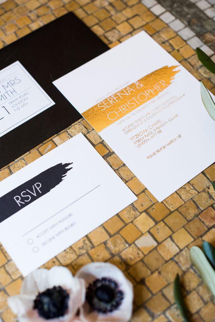 gold foil paint swash modern wedding invitation suite Fitzrovia Chapel wedding photoshoot but Always Andri Wedding Design