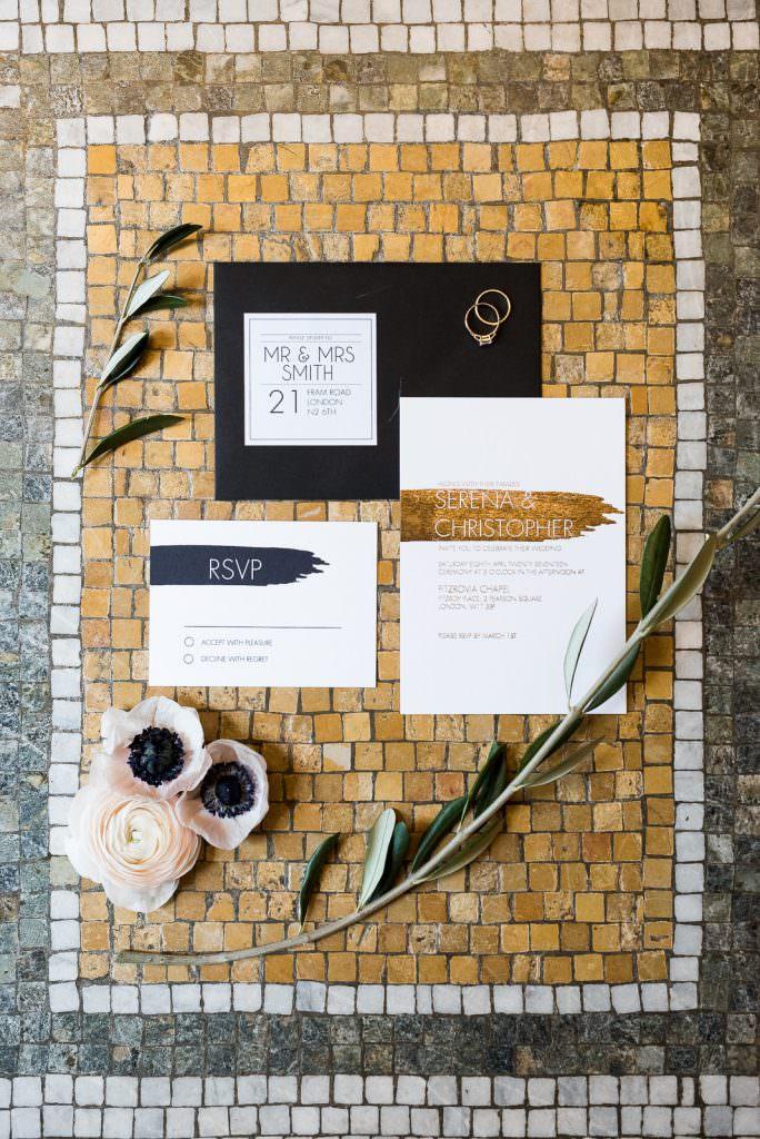 modern invitation suite with golf foil Fitzrovia Chapel wedding photoshoot but Always Andri Wedding Design
