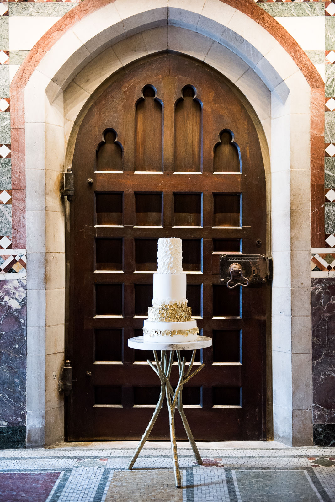 modern gold and white wedding cake Fitzrovia Chapel wedding photoshoot but Always Andri Wedding Design