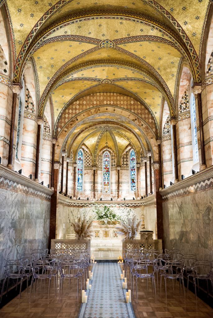 ceremony set up with clear perspex masters chairs Fitzrovia Chapel wedding photoshoot but Always Andri Wedding Design