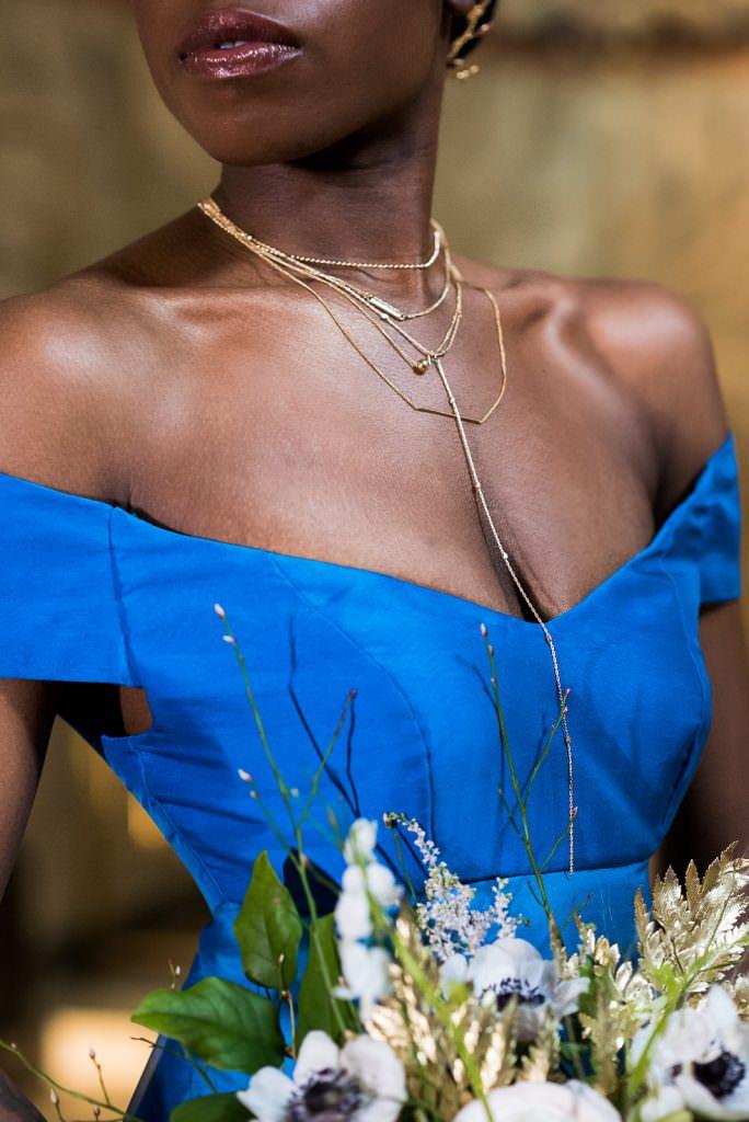 gold necklace bride on blue ombre weddingdress Fitzrovia Chapel wedding photoshoot but Always Andri Wedding Design
