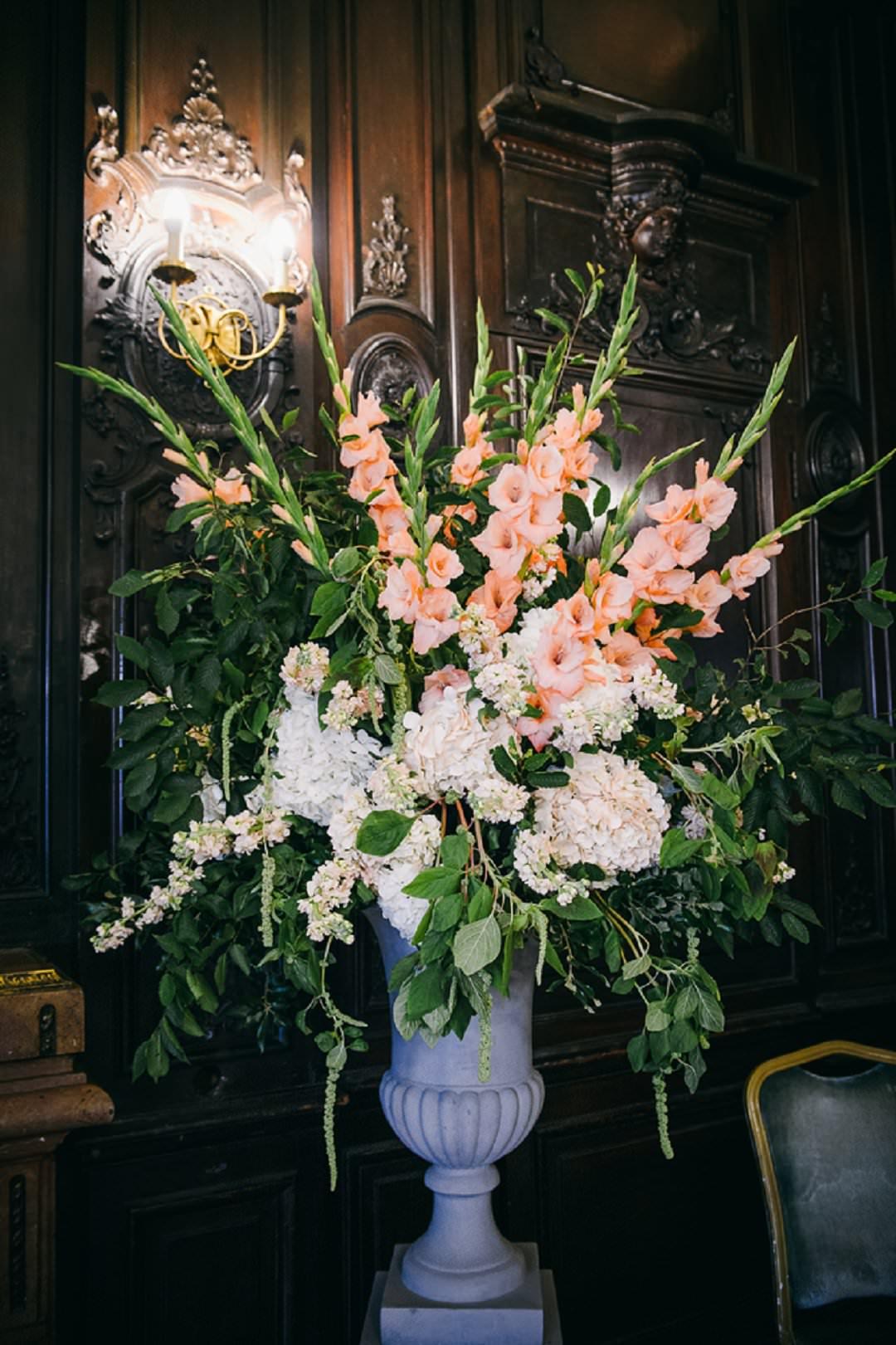 peach gladioli at Dartmouth House London Wedding