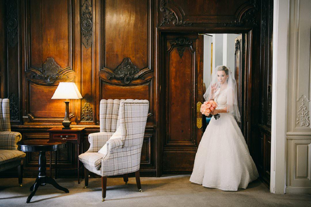 bride wating to go to ceremony Dartmouth House London Wedding Venue