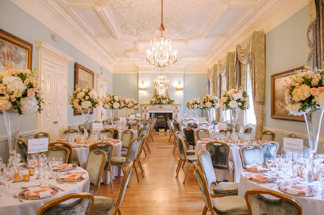 long drawring room set up at Dartmouth House London Wedding