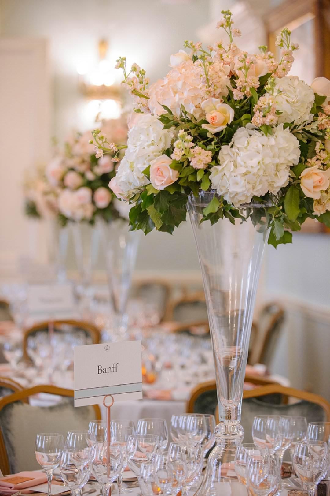 tall peach flower arrangementsDartmouth House London Wedding Venue
