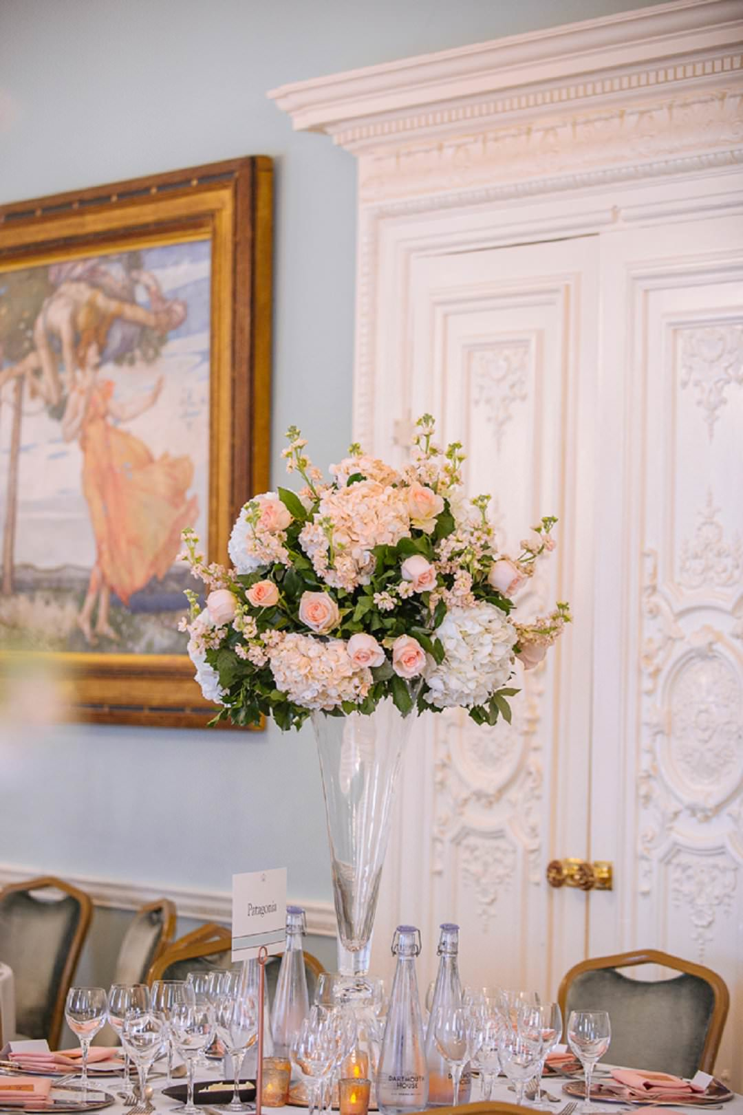 peachflowers in long Drawring room st Dartmouth House London Wedding Venue