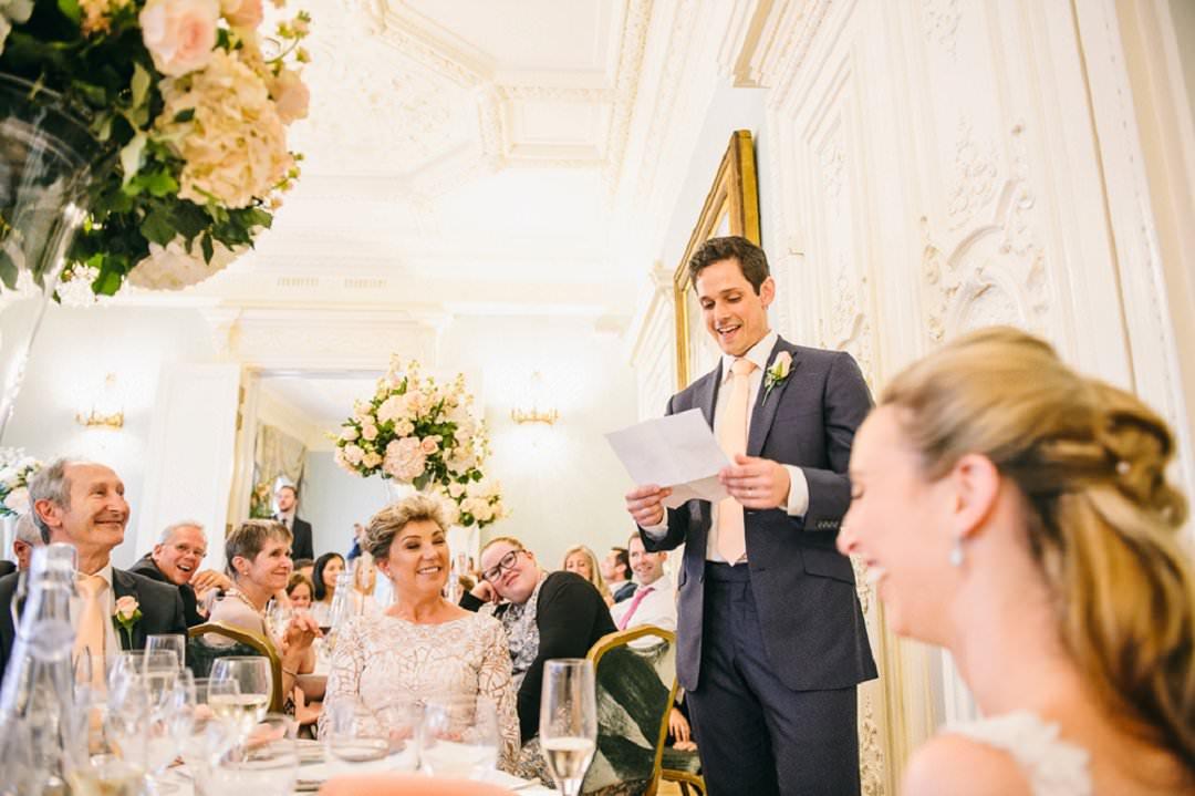 groom gives speech at Dartmouth House London Wedding