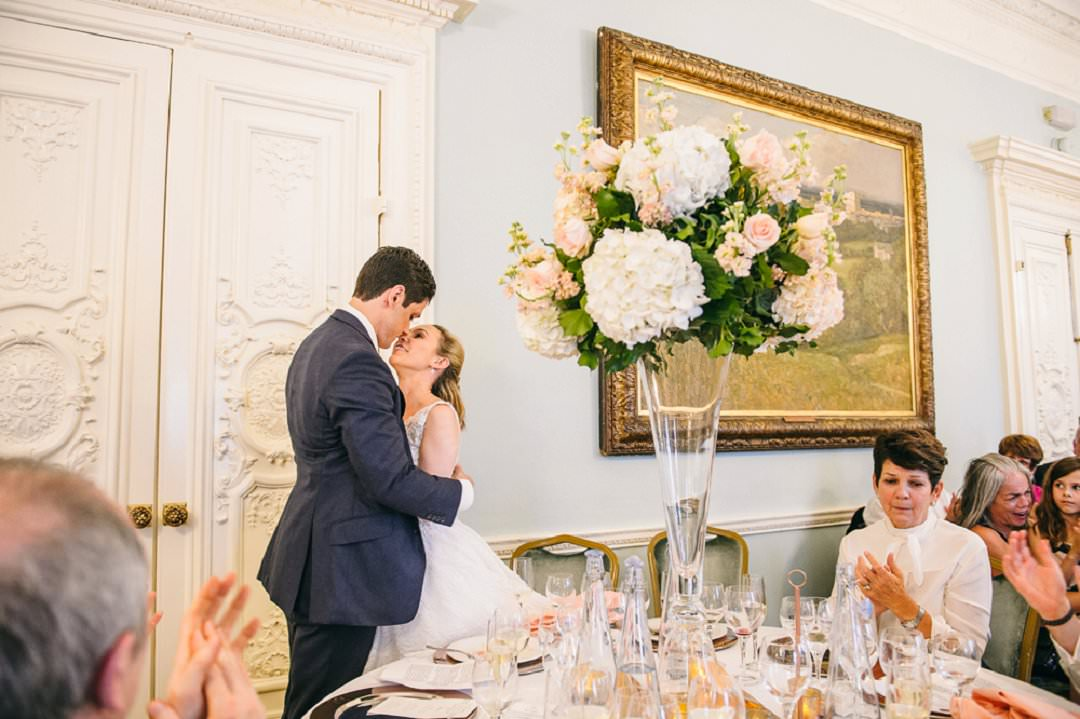 bride and groom ksis after speeches Dartmouth House London Wedding