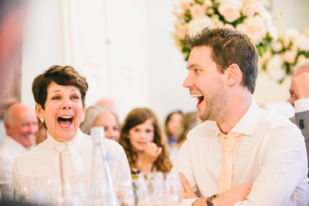 guests laughing Dartmouth House London Wedding