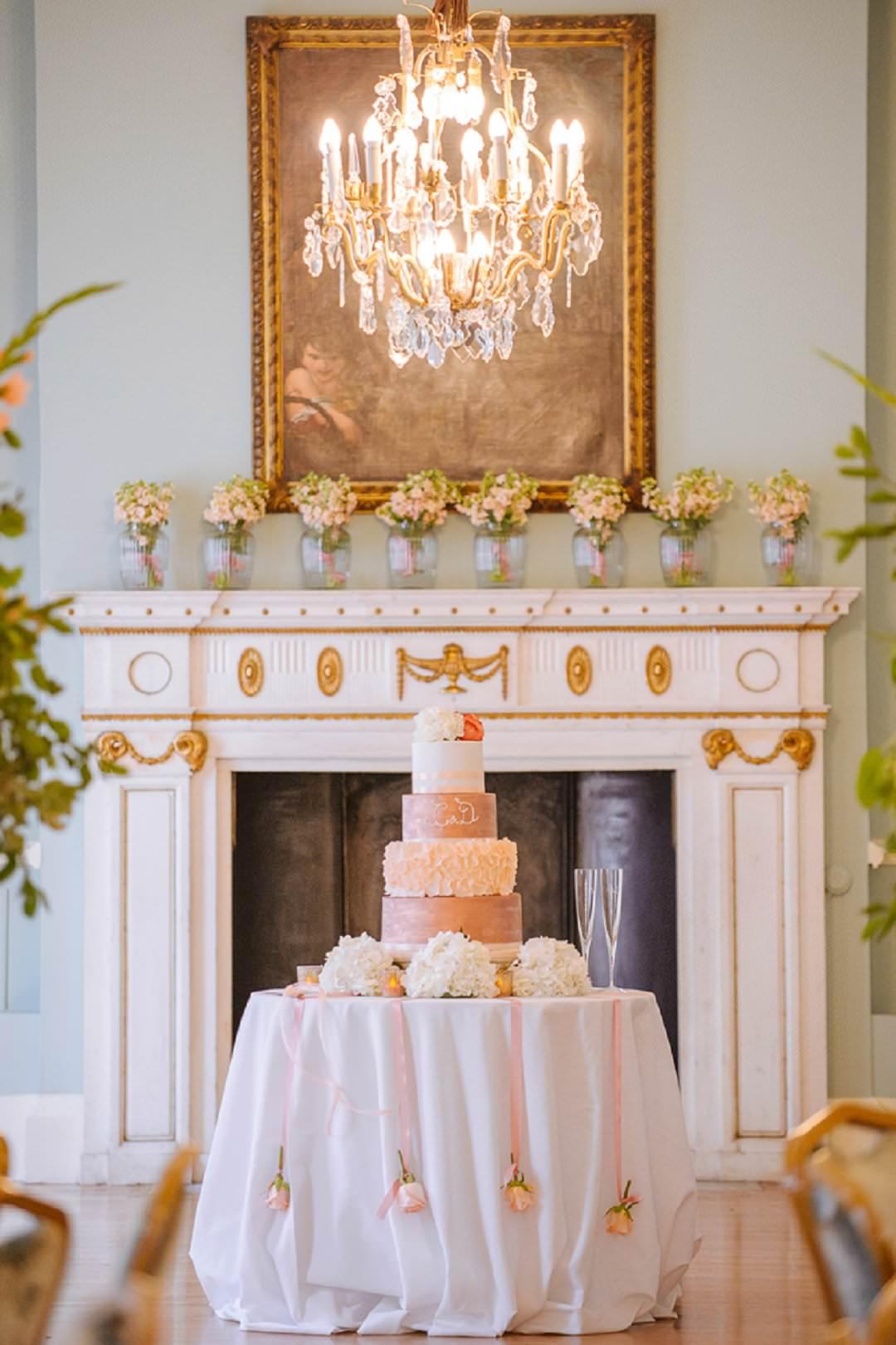 peach and copper cake Dartmouth House London Wedding