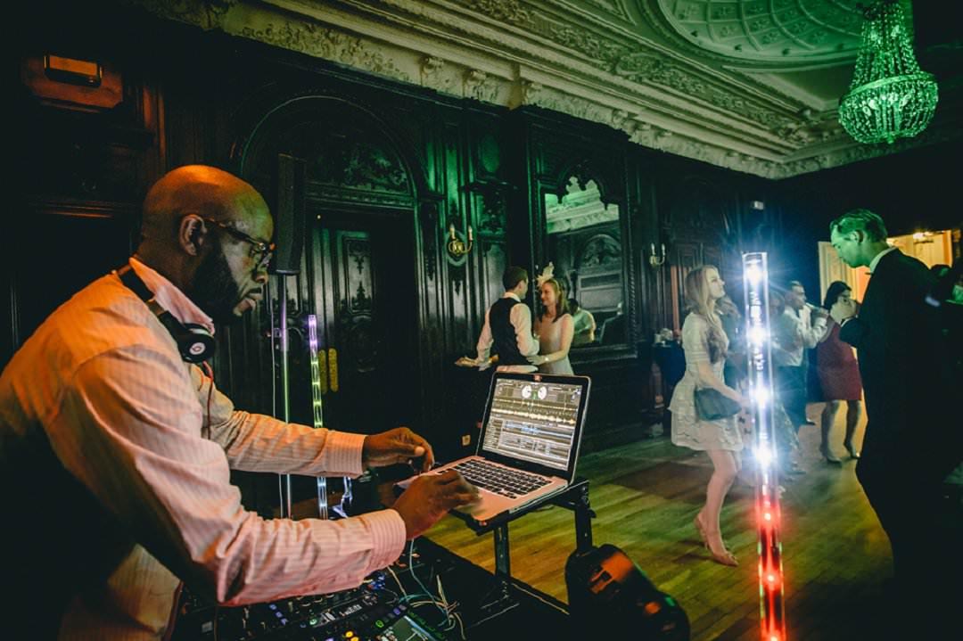 DJ playing at Dartmouth House London Wedding