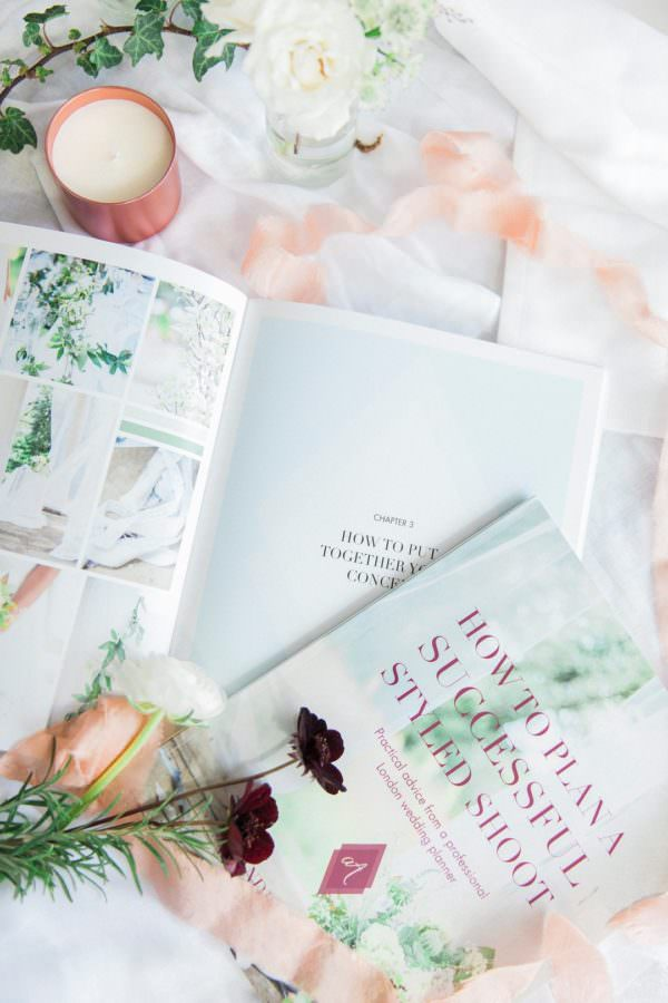 how to plan a successful styled shoot book flat lay of printed book