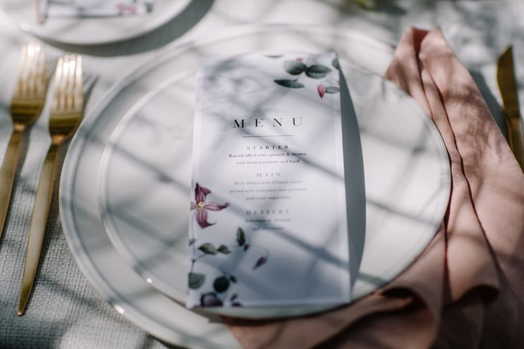 botanical wedding menu Always Andri Wedding Planner + Designer Beccy Goddard Photography Chelsea Physic Garden Photoshoot
