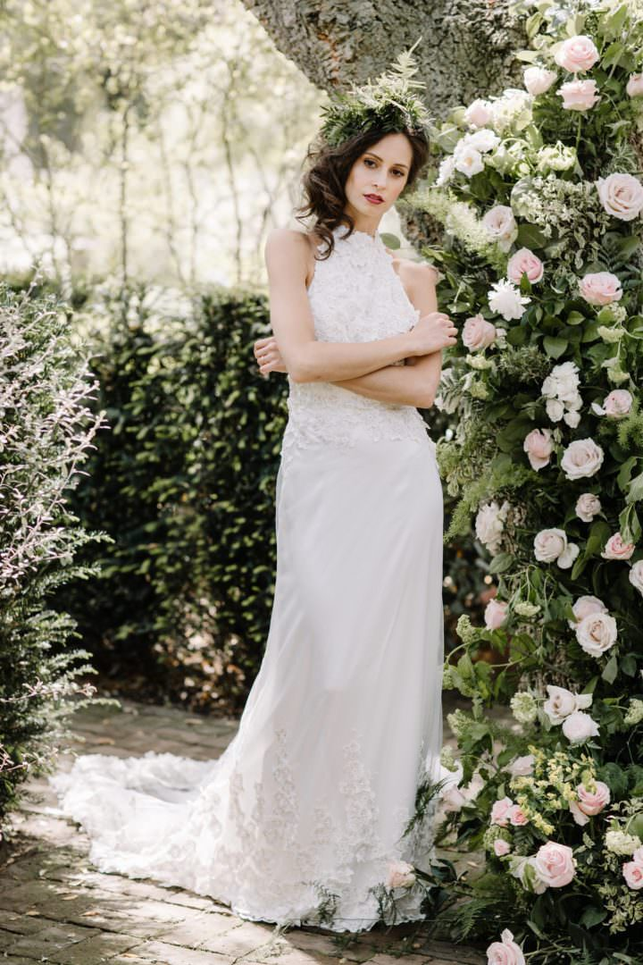 bride wit hrose clad trree Always Andri Wedding Planner + Designer Beccy Goddard Photography Chelsea Physic Garden Photoshoot