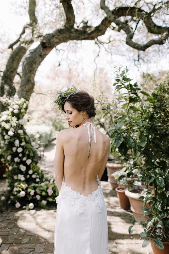 bride in backless halternech wedding dress Always Andri Wedding Planner + Designer Beccy Goddard Photography Chelsea Physic Garden Photoshoot