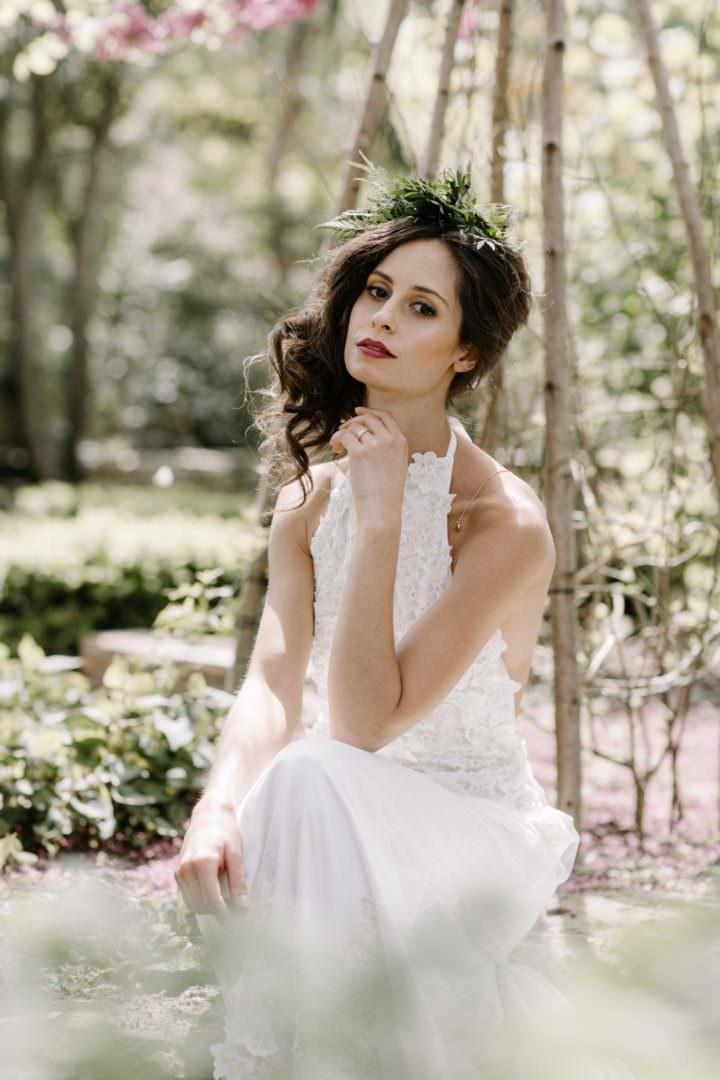 bride in garden Always Andri Wedding Planner + Designer Beccy Goddard Photography Chelsea Physic Garden Photoshoot