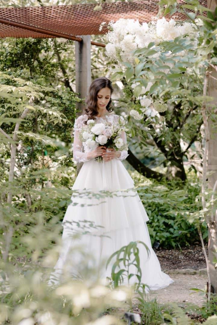 bride in gardens Always Andri Wedding Planner + Designer Beccy Goddard Photography Chelsea Physic Garden Photoshoot