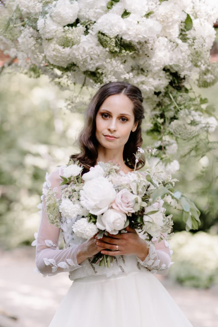 bride holding white bouquet Always Andri Wedding Planner + Designer Beccy Goddard Photography Chelsea Physic Garden Photoshoot