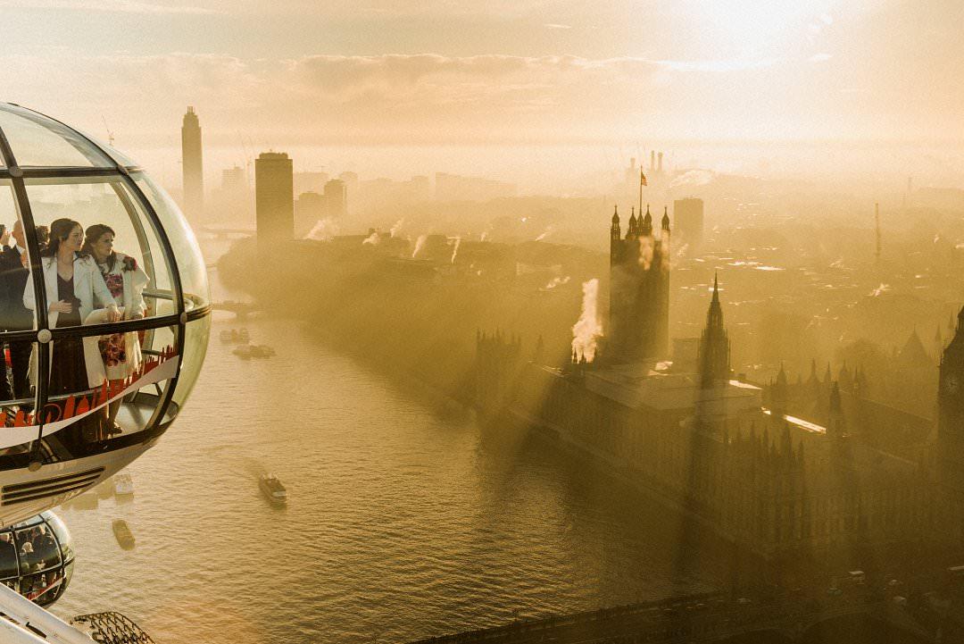 top ten London wedding vneues with views Wedding couple on the London Eye