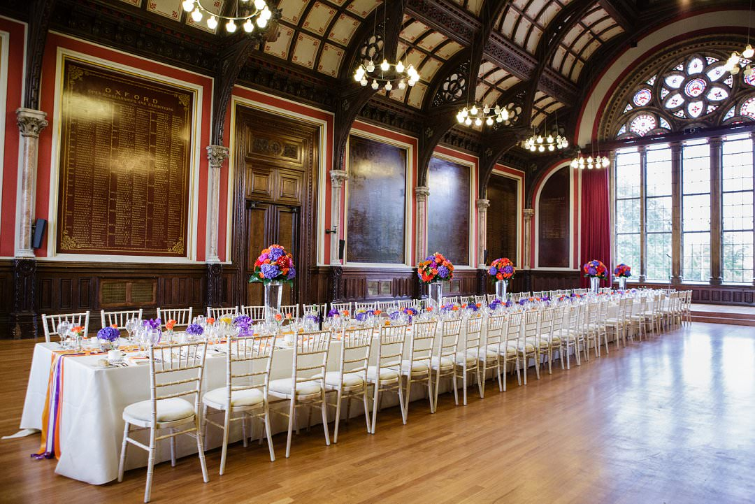long dinning table at wedding reception Dulwich College Always Andri wedding planner designer My Heart Skipped Photography
