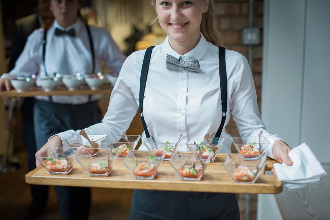 bowl food being served at a standing wedding reception party Always Andri wedding planner designer Siobhan H Photogrpahy