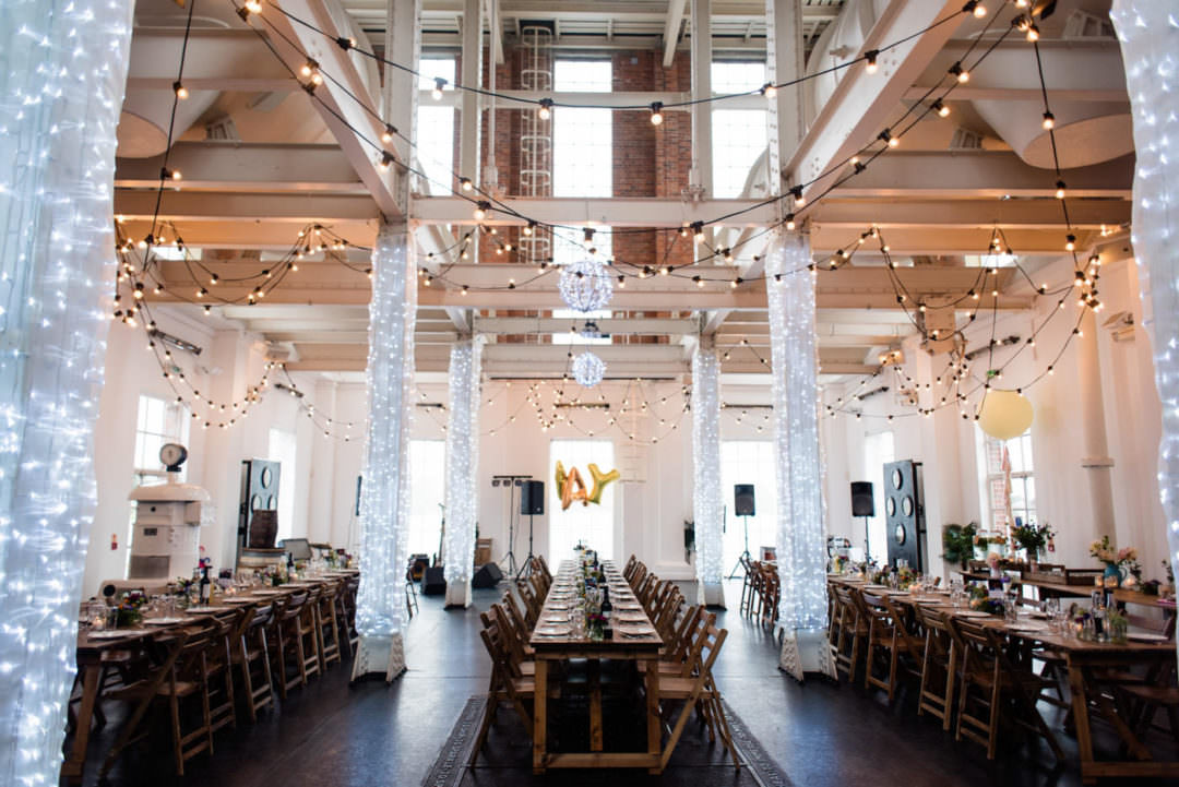 West Reservoir Wedding blank canvas warehouse wedding venue London