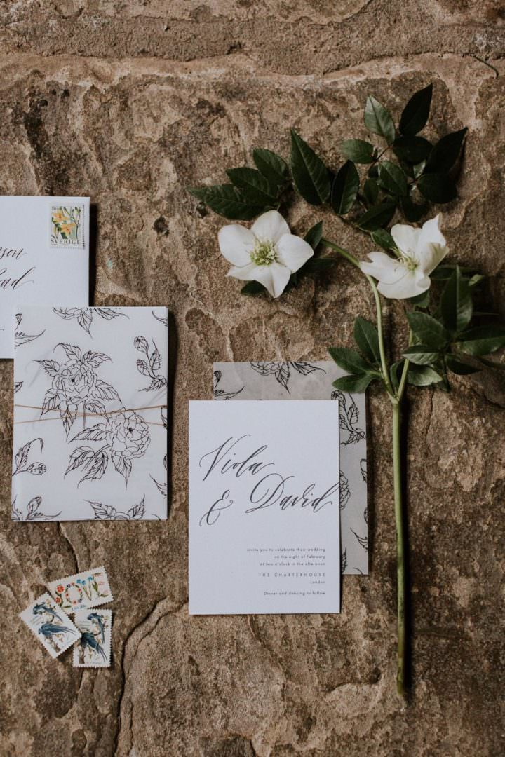 botanicla handrawn calligraphy wedding stationery with heelbroes flowersuite