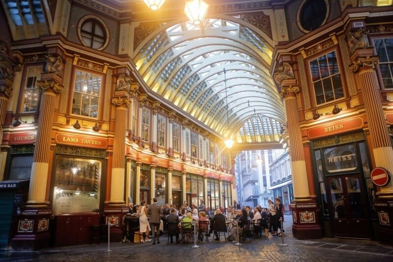 exterior of Leadenhall market foodie wedding venue in London