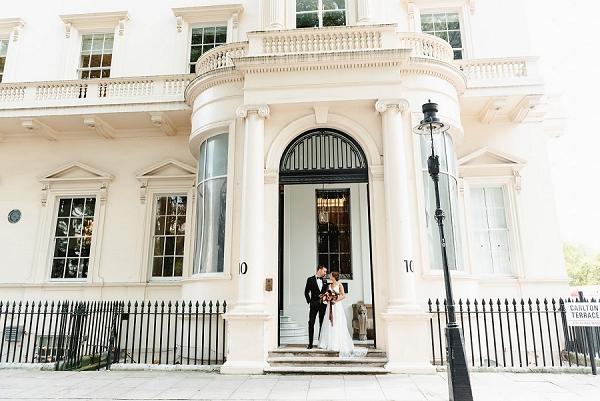 bride and groom outside London wedding venue 10-11 Carlton HouseTerrace