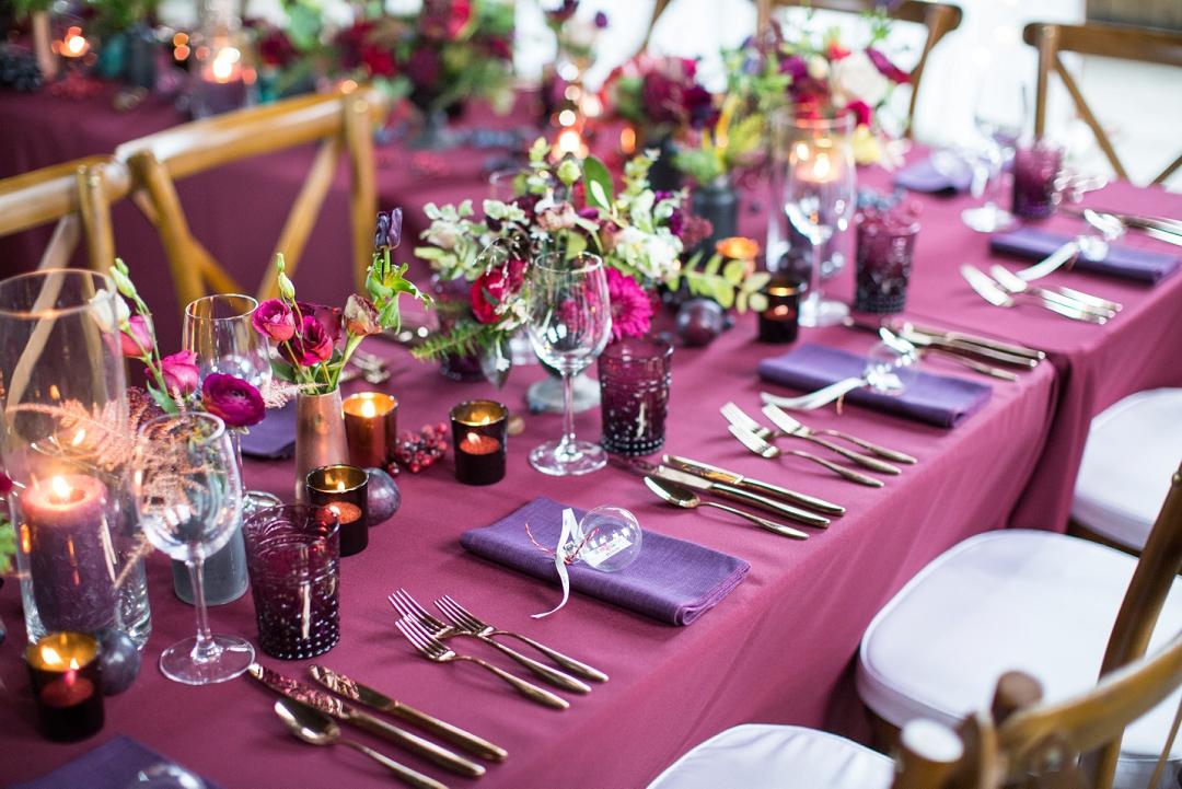 colourful winter wedding tablescape