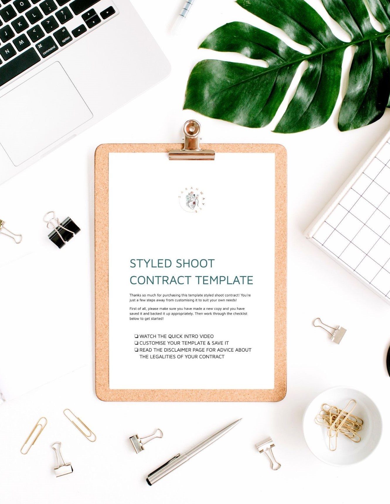 Styled Shoot Contract image on desk