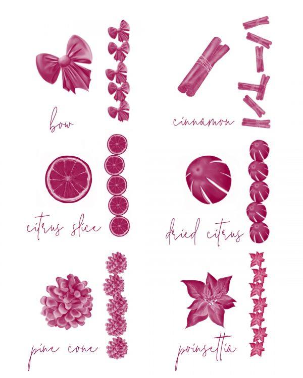 procreate winter brushes pine cone, poinsettia, cinnamon